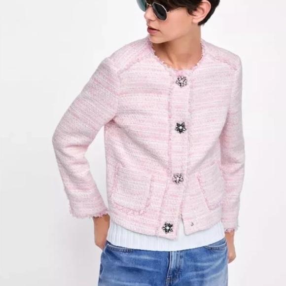 Tweed Pink Blazer Gem Buttons 2018